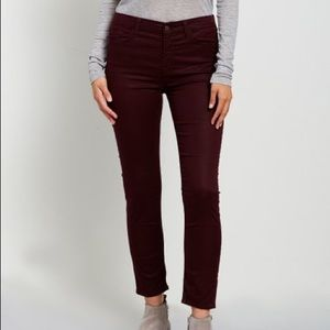7 for All Mankind: Burgundy Ankle Skinny Jeans